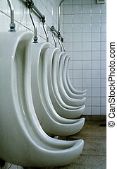 Profile detail of mens toilet - bathroom - urinals - (in a row).