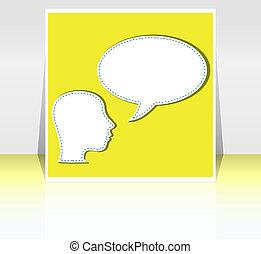 mid adult business man talk in blank speech bubble - background