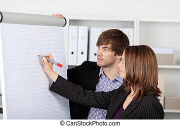 Mid adult businesswoman writing on flipchart while male coworker looking at it in office
