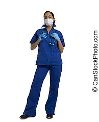 mid adult female surgeon - Mid-adult female surgeon wearing...