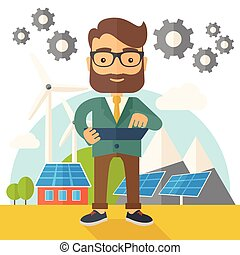 A mid adult male engineer holding a blueprint in a solar panel. A Contemporary style with pastel palette, soft beige tinted background. Vector flat design illustration. Square layout.
