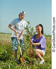 woman with teenager son setting tree