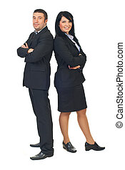 Mid adults executive people - Full length of two mid adults...