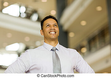 mid age business executive looking up - handsome mid age...