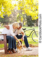 mid age couple playing with pet dog