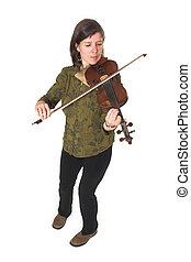 mid-age, frau, spielende , violon