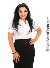 Mid-age Hispanic Businesswoman Isolated on White - Smiling...