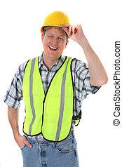 mid-age, lavoratore costruzione, presa a terra, hardhat,...