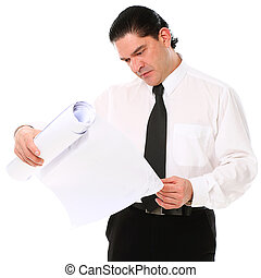Mid aged architect holding building plans over a white...