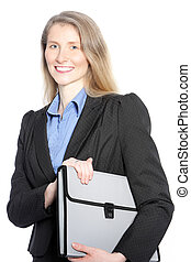 Mid aged businesswoman holding an envelope bag isolated on