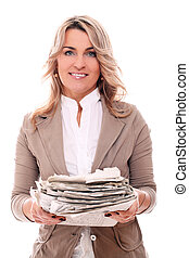 Mid aged woman in office suit with newspapers - Beautiful 40...