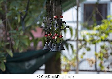 Mid Air Wind Chimes - Wind Chimes of Bronze and Red Beads,...