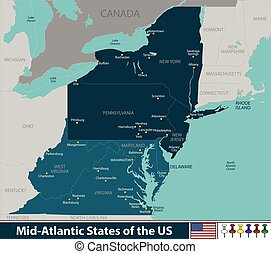 Mid Atlantic States of the United States - Vector map of Mid...