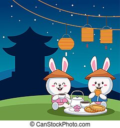 mid autumn celebration card with little rabbits couple eating in the camp