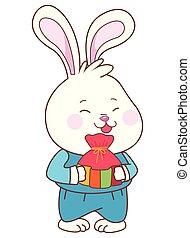 Mid autumn cute rabbit cartoon