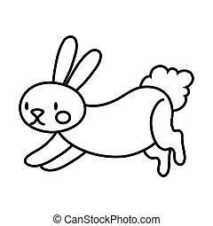 mid autumn cute rabbit jumping line style icon