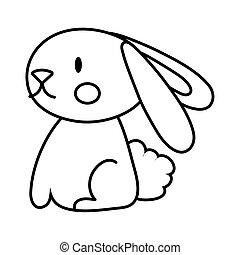 mid autumn cute rabbit line style icon