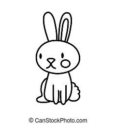 mid autumn cute rabbit seated line style icon