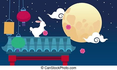 mid autumn festival animation with rabbit and lamps in arch...