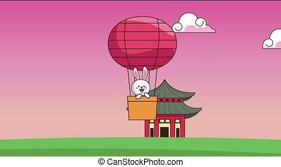 mid autumn festival animation with rabbit in balloon hot air...