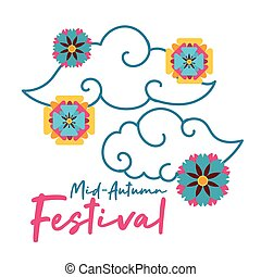 mid autumn festival card with clouds and flowers flat style icon