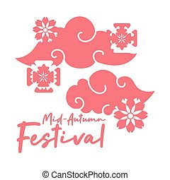 mid autumn festival card with clouds and flowers line style icon