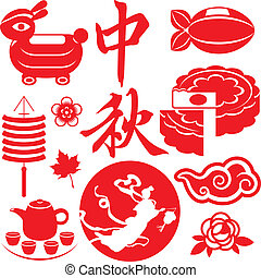 Mid Autumn festival concept icons set, two Chinese characters mean Mid autumn festival