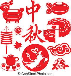 Mid Autumn festival concept icons s