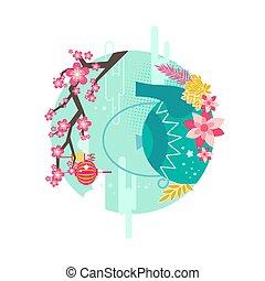 Mid Autumn Festival Emblem with Event Symbolic