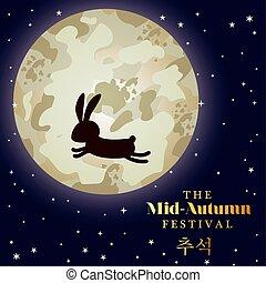 Mid autumn harvest moon festival with rabbit vector design