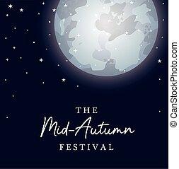 Mid autumn harvest moon festival with stars vector design