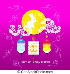 Mid Autumn Lantern Festival vector background with moon rabbit