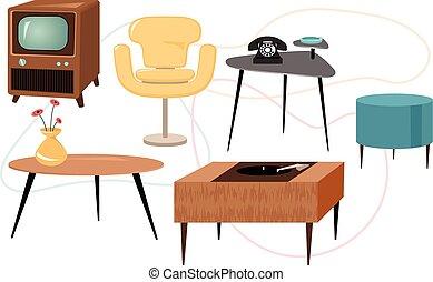 Mid-century modern - Set of 1950s style furniture, EPS 8...
