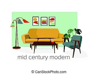 mid century modern illustration.