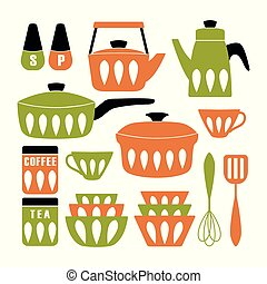 Mid Century Modern Kitchen Poster. Collection of cooking utensil. Vector clipart.