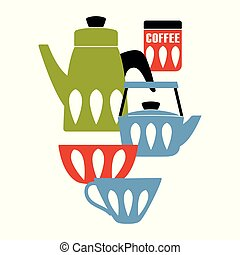 Mid Century Modern Kitchen Poster. Enamelware teapot and ceramic utensil. Vector illustration.