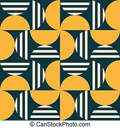 mid-century, motívum, textil, geometriai, -, mód, minimális...