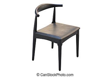 mid-century, render, 3d, 革, seat., 椅子, 木製である