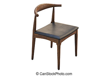mid-century, render, 3d, cuoio, seat., sedia, legno