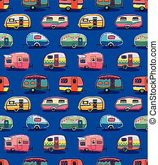 Mid fifties cartoonish campers pattern - Cute little vintage...