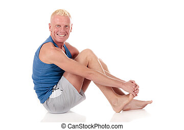 Mid forties man fitness - mid forties blond male working...