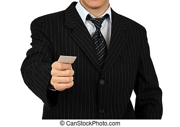 Mid section image of a man in black suit holding a business card