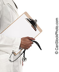 mid section of a doctor holding clipboard and stethoscope
