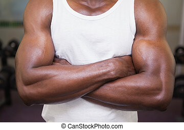 Mid section of a muscular man with arms crossed