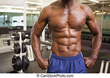 Mid section of a shirtless muscular man in gym