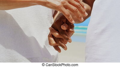 Mid section of romantic active senior African American couple holding hands on the beach 4k
