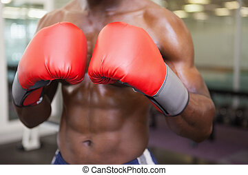 Mid section of shirtless muscular boxer