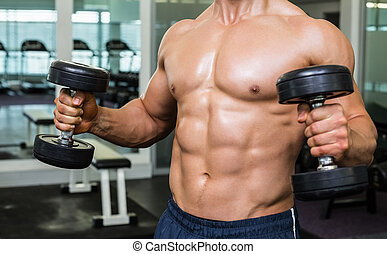 Mid section of shirtless muscular man exercising with ...