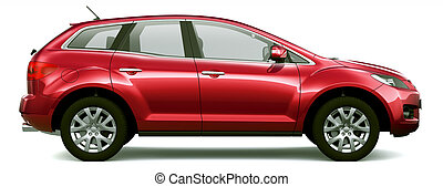 Mid-size crossover SUV - red suv on a white background