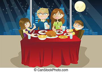 middag, äta, familj